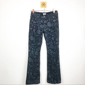 CHICOS Womens Flocked Damask Jeans Black